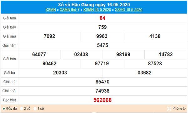 Soi cầu XSHG 23/5/2020 - KQXS Hậu Giang thứ 7
