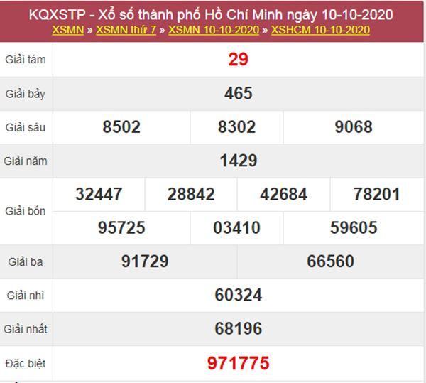 Soi cầu KQXS Hồ Chí Minh 12/10/2020 thứ 2 chính xác nhất